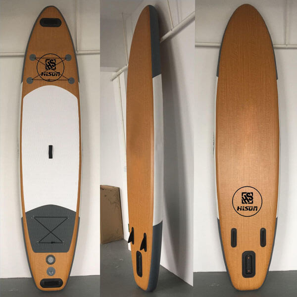 Inflatable paddle boards with wooden PVC
